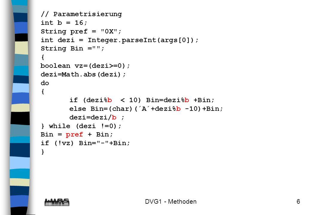 int dezi = Integer.parseInt(args[0]); String Bin = ; {